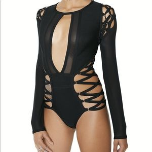 Mixed Emotions Strappy Bodysuit from Dolls Kill